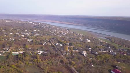 namiot : Flight over the Village and the River. Moldavian village Wideo