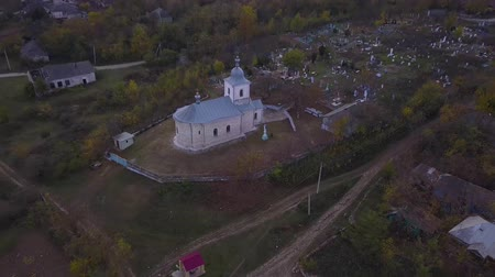 шедевр : Flight over the church in Moldova Republic. Стоковые видеозаписи