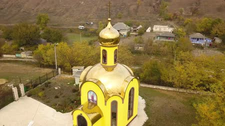 chapel : Aerial drone in a rural village of Moldova. Europe. Stock Footage