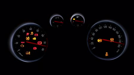 rpm : car dashboard over a black background