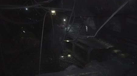underground : Work of miners in a coal mine Stock Footage