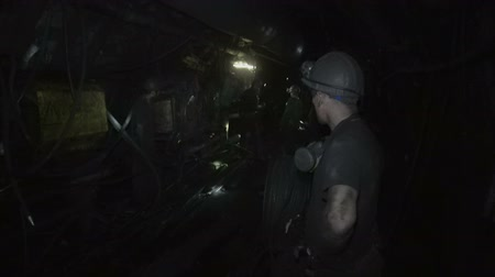 eixo : Work of miners in a coal mine Stock Footage