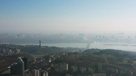 Украина : Aerial view over Kiev in the fog 4K Ultra HD