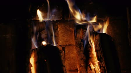 cosiness : Firewood burn, close-up Stock Footage