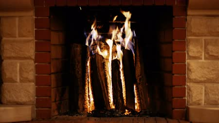 Home fireplace with firewood, home holidays Stok Video