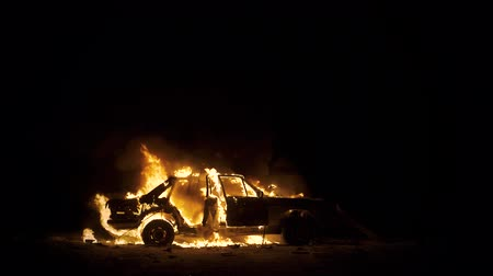 detonation : Car On Fire, Burning Car At Night, Side View Stock Footage