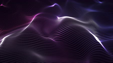 Waves, hills, abstract background, particles lines