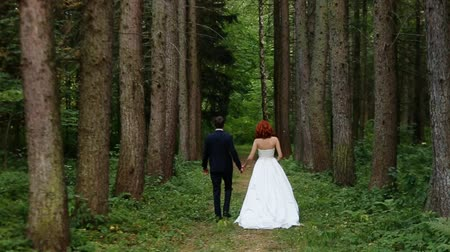 redhead suit : bride and groom go through the forest Stock Footage