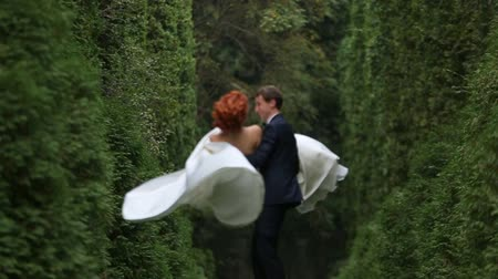 redhead suit : the bride and groom on their hands Stock Footage