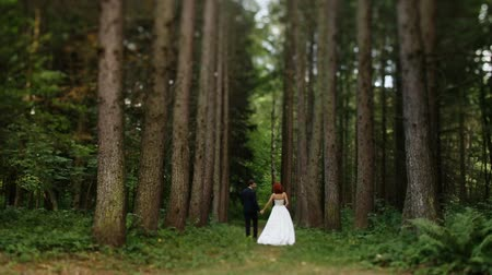 redhead suit : and groom walk in the woods