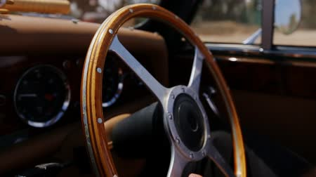 gearstick : the wheel of an old car Stock Footage