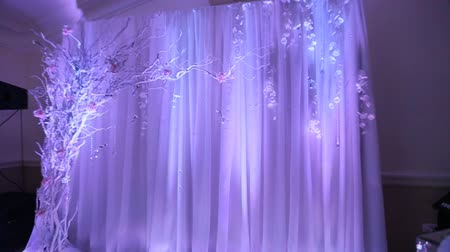reception : Interior of a wedding hall decoration ready for guests.Beautiful room for ceremonies and weddings.Wedding concept.Luxury stylish wedding reception purple decorations expensive hall.Wedding decor