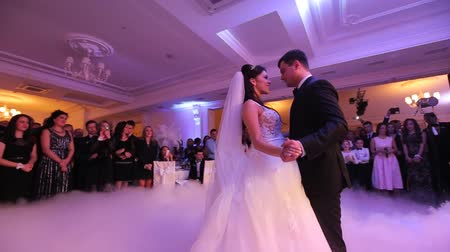 dança : Beautiful young newlyweds dancing their first dance shrouded by white fume. Wedding celebration in the restaurant