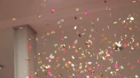 sylvester : Gold Confetti falling slow and beautiful Stock Footage