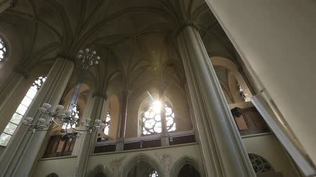 normandie : Gothic style interior with arcs and decoration in Catholic cathedral