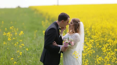 templombúcsú : Husband and wife in wedding dress and suit smiling and standing among yellow flowers. Stock mozgókép
