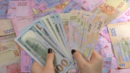 vízjel : Businessmans hands counting money dollar and hryvnia. Counting Ukrainian money.