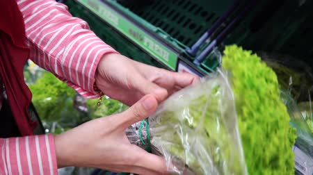 caloric : Woman selecting vegetable in organic section of supermarket Stock Footage