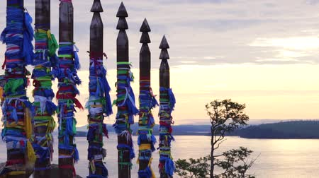shaman : The ritual pillars near Shaman Rock on Olkhon island. Stock Footage