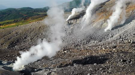 superb : steam escaping from the volcanic vents in Mount asahidake (highest mountain of in hokkaido, japan). It is located in the northern part of the Daisetsuzan National Park.