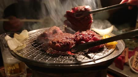 beef dishes : Yakiniku Japanese style of grilled meat Stock Footage
