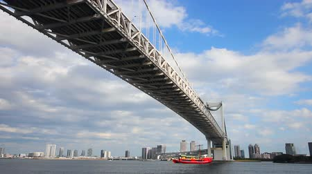 the suspension bridge : Under rainbow bridge at tokyo bay zoom shot