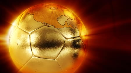Golden soccer with world map 影像素材
