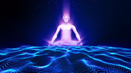 Meditating man. 3D animation