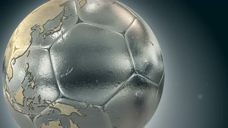 Metallic soccer ball with world map 影像素材