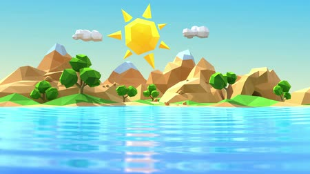 Low polygonal cartoon island