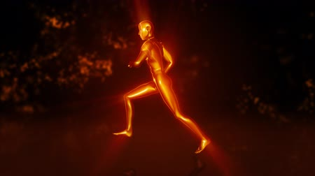 Running metallic man which is scattered on particles