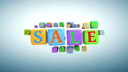 The word sale is going from cubes with letters