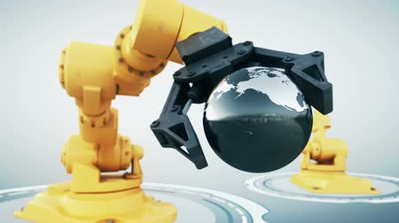 robots : Robotic arm with metallic globe Stock Footage