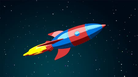Cartoon rocket flying in the space 影像素材