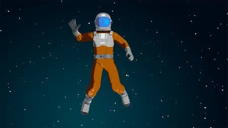 HTML5 Video is required for viewing the video Cartoon astronaut waving in the space
