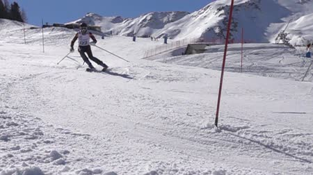 yarışma : PILA, ITALY - MARCH 20, 2017: Artemis interschool Ski Challenge slalom on the famous italian ski resort