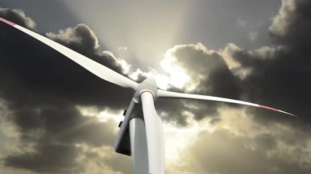 moinho de vento : rotation of a windmill for the production of clean and renewable energy Vídeos