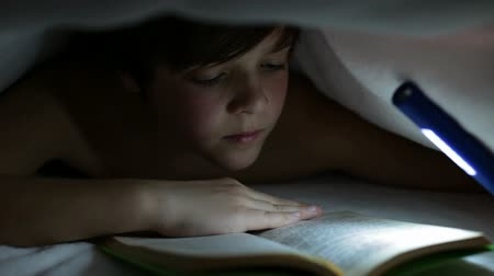 zseblámpa : Young boy reading a captivating book at night - lighting with a flashlight under the blanket