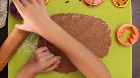 bolachas : Child hands cutting gingerbread christmas cookie shapes from dough - closeup, top view Vídeos