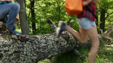 pace : Hikers boots jumping over fallen tree in forest - closeup on feet