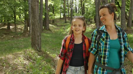 Hikers enjoy walking in forest - woman and girl walking downhill among trees Stock Footage