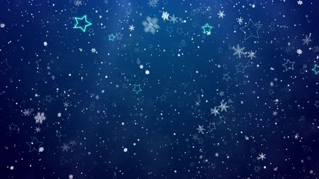 gevreği : Snowflakes and stars. New Years - the Christmas background Stok Video