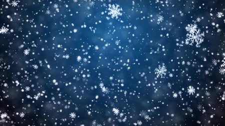 fundo azul : Christmas background with snowflakes - falling snow Stock Footage
