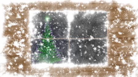 проворный : The snow-covered window, falling snow and New Year tree