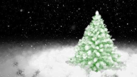 С Рождеством : Christmas fur-tree and falling snow