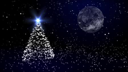 felices fiestas : Christmas fur-tree contra la luna y la nieve Archivo de Video