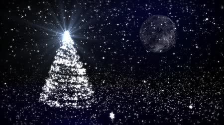 деревья : Christmas fur-tree against the moon and snow