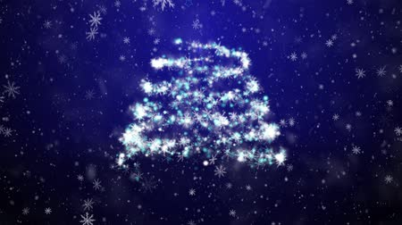 pré natal : Christmas tree with falling snowflakes and stars
