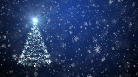 sniezynka : Christmas tree with falling snowflakes and stars