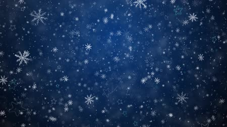 sniezynka : Winter Christmas background, falling snowflakes and stars Wideo